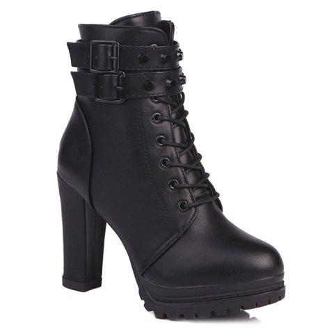 Fancy High Heel Lace Up Buckle Strap Boots