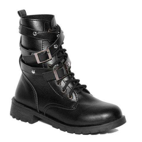 Hot Buckle Strap Lace Up PU Leather Boots