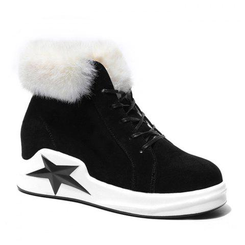 Unique Star Patch Wedge Heel Faux Fur Ankle Boots