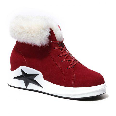 Fancy Star Patch Wedge Heel Faux Fur Ankle Boots