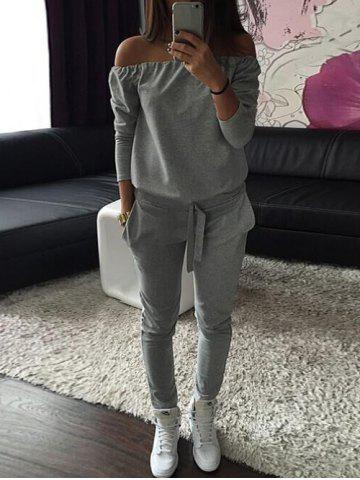 Online Long Sleeve Off The Shoulder Jumpsuit