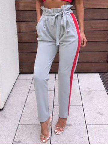 Fancy Side Striped Ruffle Waist Pants