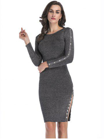 Shops Button Embellish Knitted Dress with Slit