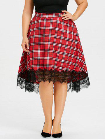 Online Plus Size Lace Edge Plaid Dip Hem Skirt