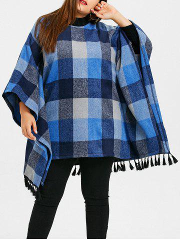 Trendy Plaid Tassel Batwing Sleeve Plus Size Coat