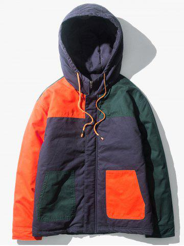 Zip Up Color Block Panel Padded Jacket
