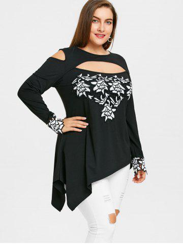 Plus Size Cut Out Tunic Embroidery Blouse