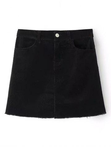 Fancy Corduroy Frayed Hem Mini Skirt