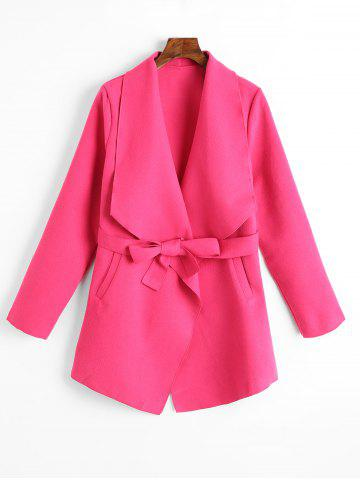 Unique Belted Plain Coat with Pockets