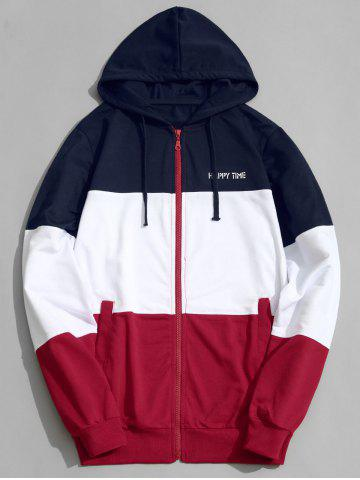 Discount Zip Up Color Block Men Hoodie