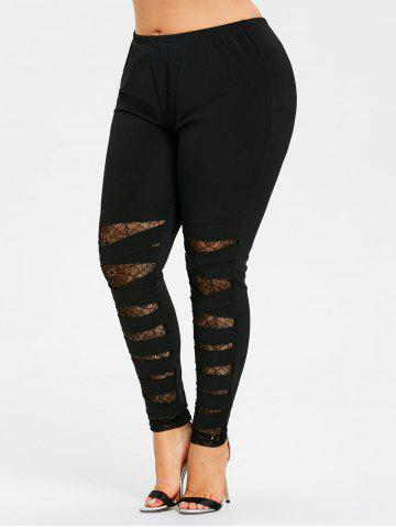 Hot Plus Size Lace Trim Ripped Leggings