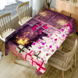 Christmas Fireplace Pattern Home Ornament Fabric Table Cloth -