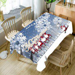 Hordes of Santa Claus Floral Print Waterproof Fabric Table Cloth -