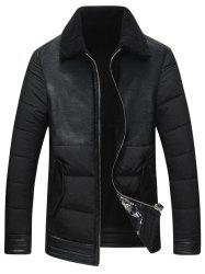 Faux Leather Insert Padded Shearling Jacket -