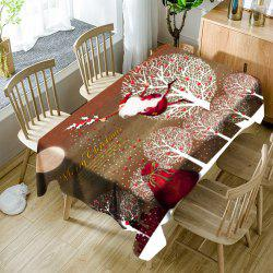 Flying Santa Claus Tree Cartoon Pattern Waterproof Table Cloth -