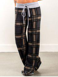 Plaid Pants with Drawstring Waist -