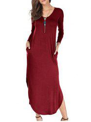 Long Sleeve Maxi Dress with Side Pocket -