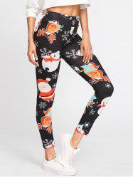 Christmas Snowman Printed High Waist Leggings -