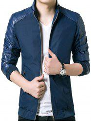 Stand Collar Faux Leather Panel Zip Up Jacket -