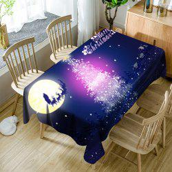 Sparkling Christmas Tree Moon Sled Printed Waterproof Table Cloth -