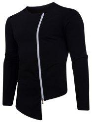 Crew Neck Zip Up Asymmetrical Tee -