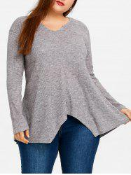 Plus Size Asymmetric Ribbed Tunic Sweater -