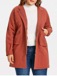 Raglan Sleeve Fleece Lining Plus Size Coat -