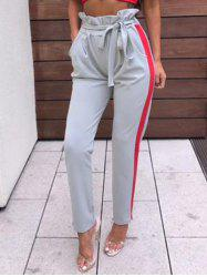 Side Striped Ruffle Waist Pants -