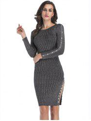 Button Embellish Knitted Dress with Slit -