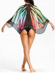 Butterfly Print Sheer Beach Cover Up -