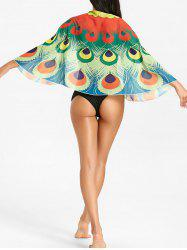 Peacock Feathers Print Sunbath Cover Up -