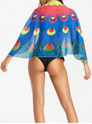 Beach Peacock Feathers Print Cover Up -