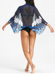 See Through Butterfly Print Beach Cover Up -