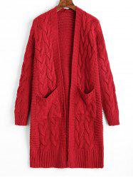 Cable Knit Longline Pockets Cardigan -