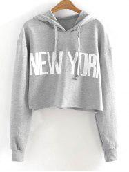 New York Drawstring Cropped Hoodie -