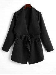 Belted Plain Coat with Pockets -