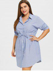 Striped Drawstring Waist Plus Size Shirt Dress -