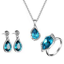Water Drop Shape Faux Crystal Embellished Jewelry Set -