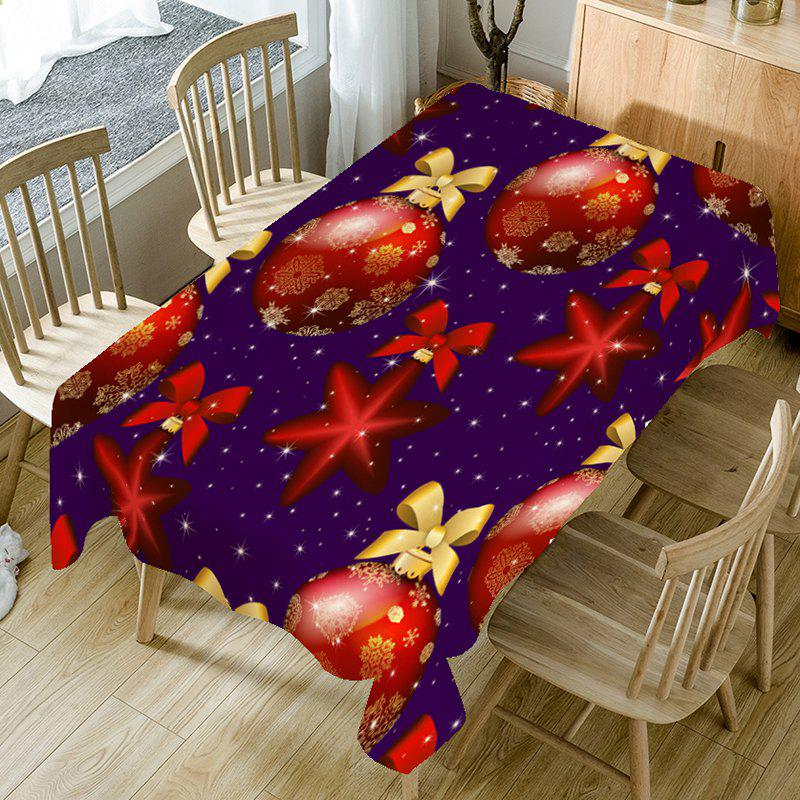Sale Bowknot Christmas Ball Printed Table Cloth