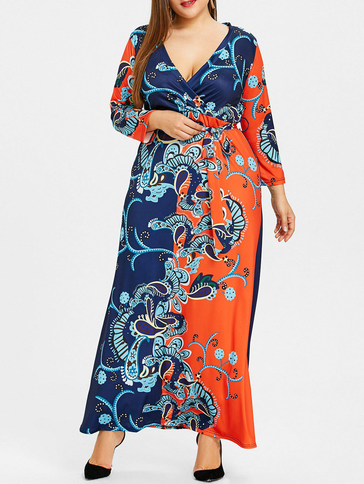 Affordable Surplice Ethnic Floral Print Plus Size Dress