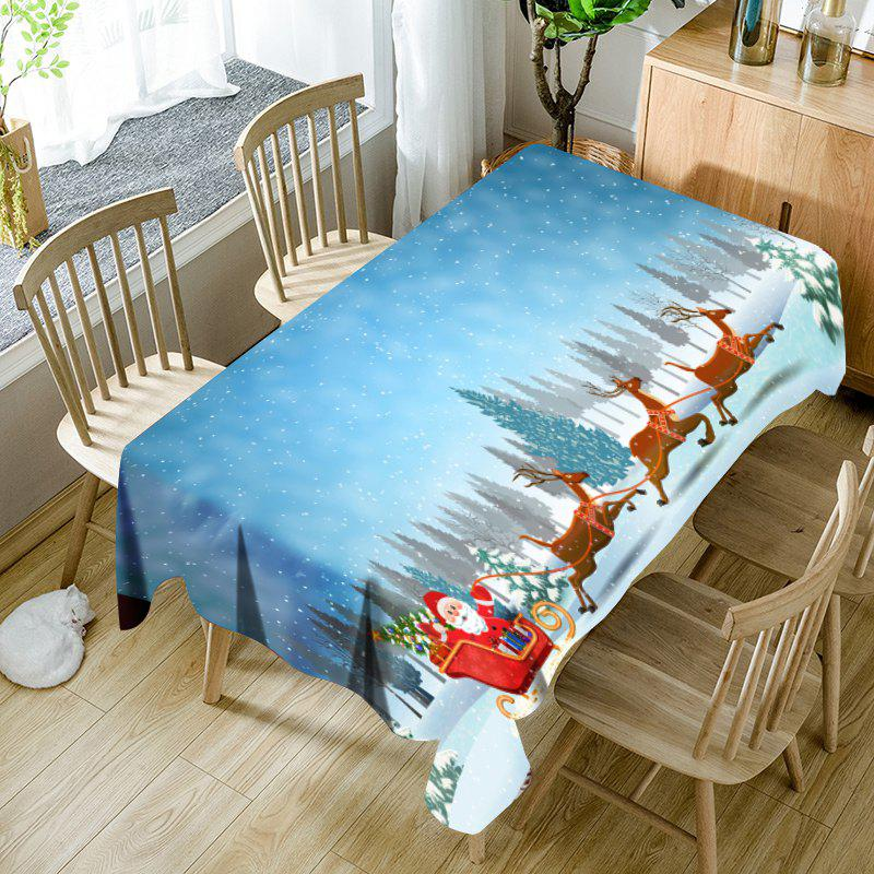 Affordable Snowfield Santa Sleigh Printed Waterproof Fabric Christmas Table Cloth