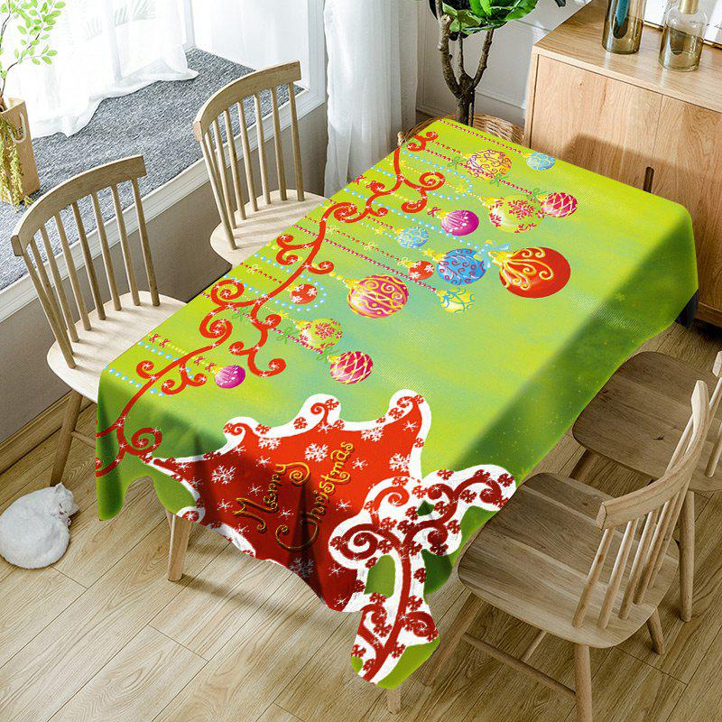 Best Merry Christmas Hanging Balls Pattern Waterproof Table Cloth