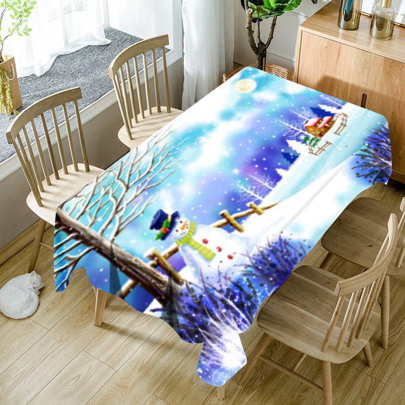 Unique Christmas Snowscape Printed Waterproof Fabric Table Cloth