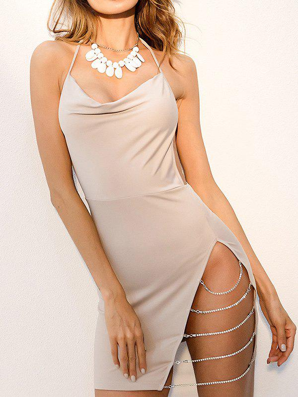 Trendy Chains Halter High Slit Backless Club Dress