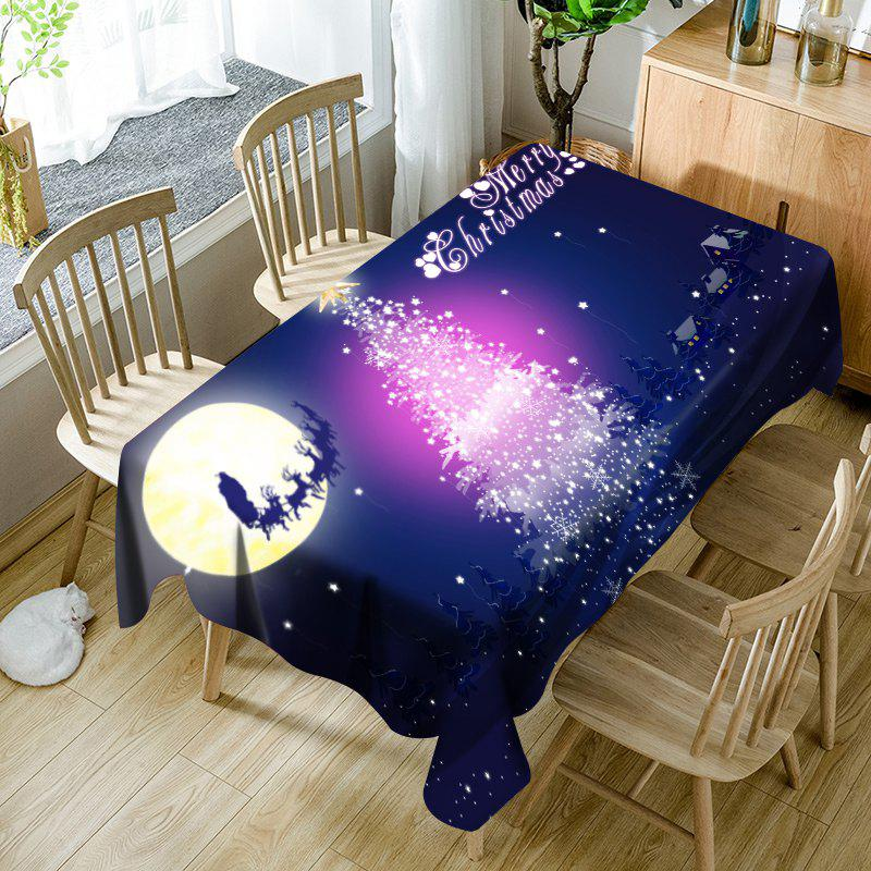Shops Sparkling Christmas Tree Moon Sled Printed Waterproof Table Cloth