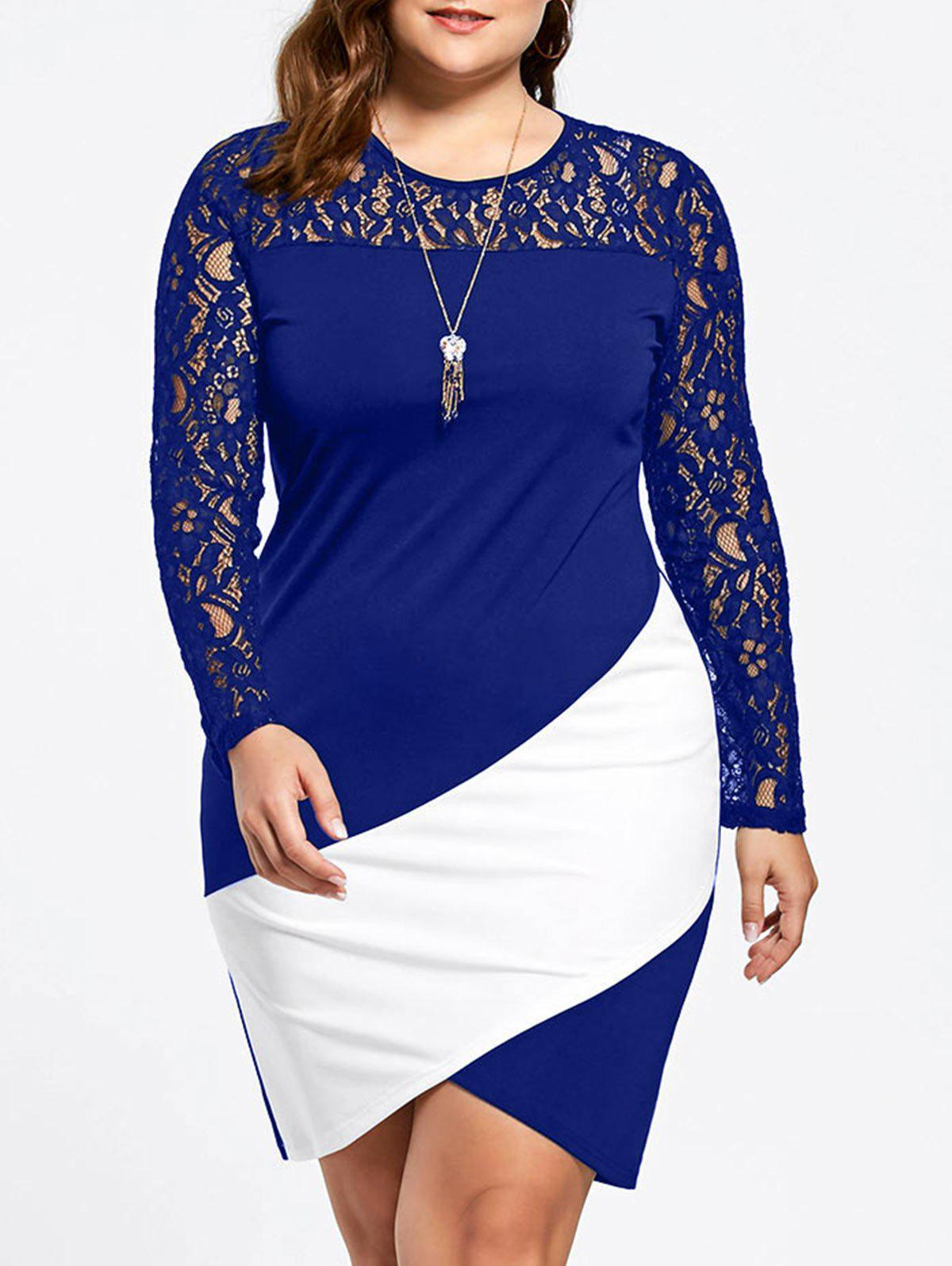 Fashion Asymmetric Plus Size Lace Sleeve Pencil Dress