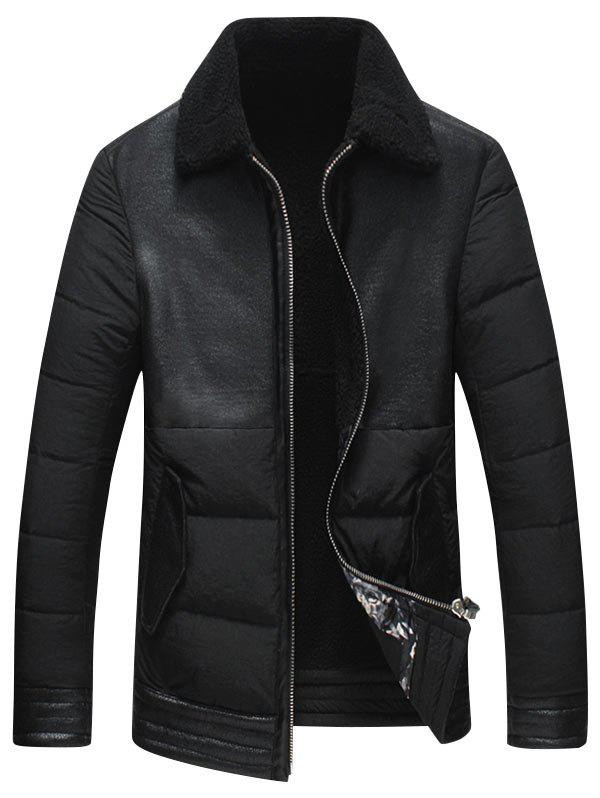 Cheap Faux Leather Insert Padded Shearling Jacket