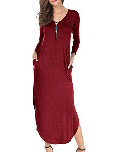 Chic Long Sleeve Maxi Dress with Side Pocket