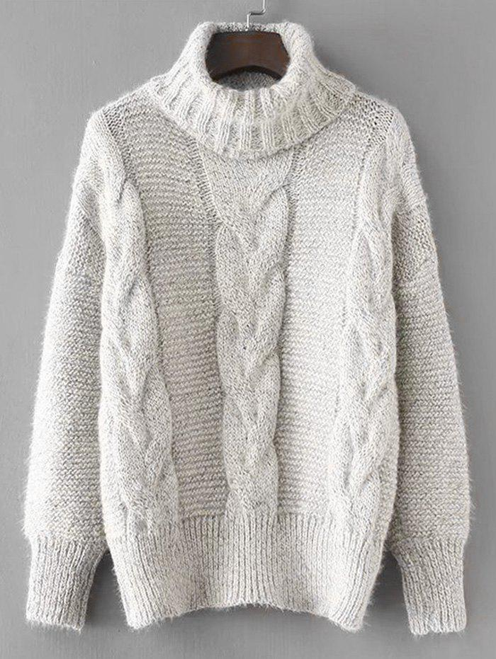 Discount Turtleneck Textured Cable Knit Sweater