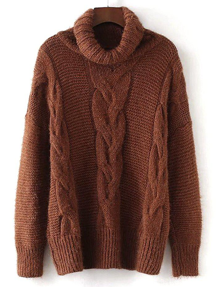 Outfits Turtleneck Textured Cable Knit Sweater